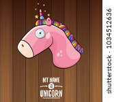 vector funny cartoon cute pink... | Shutterstock .eps vector #1034512636