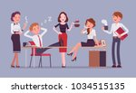 lunchtime in the office. team... | Shutterstock .eps vector #1034515135