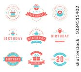 happy birthday badges and... | Shutterstock .eps vector #1034515402