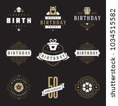 happy birthday badges and... | Shutterstock .eps vector #1034515582