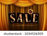 shining spring sale on gold...   Shutterstock .eps vector #1034526505