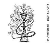 hookah hand drawn sketch... | Shutterstock .eps vector #1034527345