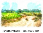 watercolor rural landscape ...   Shutterstock . vector #1034527405