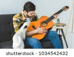 Stock photo handsome man playing on acoustic guitar and sitting on sofa with dog 1034542432