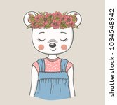 cute dreamy bear girl with... | Shutterstock .eps vector #1034548942