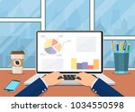 office workplace. business man... | Shutterstock .eps vector #1034550598