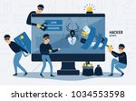 criminals  burglars or crackers ... | Shutterstock .eps vector #1034553598