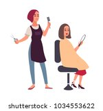 female hairdresser cutting hair ... | Shutterstock .eps vector #1034553622