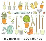 colorful cartoon set of garden... | Shutterstock . vector #1034557498