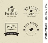 set of retro styled butchery... | Shutterstock . vector #1034577442