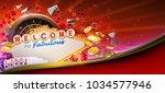 casino games banner design with ... | Shutterstock . vector #1034577946