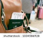 passport with boarding pass in... | Shutterstock . vector #1034586928