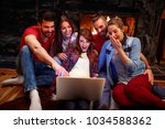group of friends having fun... | Shutterstock . vector #1034588362