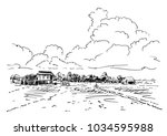 sketch of farm filds and... | Shutterstock .eps vector #1034595988