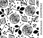 botanical seamless pattern with ... | Shutterstock .eps vector #1034598262