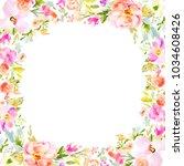 blank watercolor flower frame... | Shutterstock . vector #1034608426