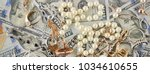 background of american dollars... | Shutterstock . vector #1034610655