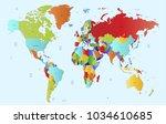world map vector. | Shutterstock .eps vector #1034610685