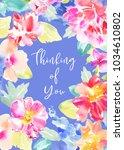 watercolor flower sympathy card ... | Shutterstock . vector #1034610802