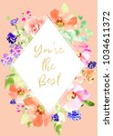 printable mothers day card with ... | Shutterstock . vector #1034611372