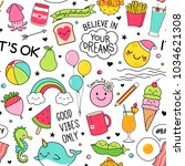 cute fun doodles seamless... | Shutterstock .eps vector #1034621308