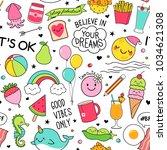 cute fun doodles seamless... | Shutterstock .eps vector #1034621308