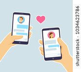 couple in love texting. male... | Shutterstock .eps vector #1034623786
