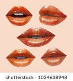 sensual juicy lips collection.... | Shutterstock .eps vector #1034638948
