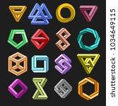 impossible shape set. vector 3d ... | Shutterstock .eps vector #1034649115
