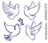 abstract flying dove sketch set ...   Shutterstock .eps vector #1034651575