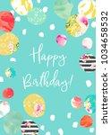 printable happy birthday card... | Shutterstock . vector #1034658532