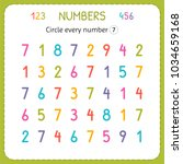 circle every number seven.... | Shutterstock .eps vector #1034659168