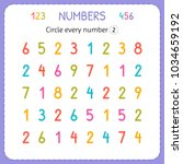 circle every number two.... | Shutterstock .eps vector #1034659192