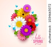 colorful spring background with ... | Shutterstock .eps vector #1034665072