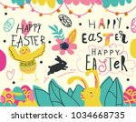 easter cartoon and lettering...   Shutterstock .eps vector #1034668735