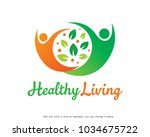 healthy living logo template... | Shutterstock .eps vector #1034675722