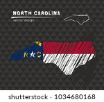 north carolina map with flag... | Shutterstock .eps vector #1034680168