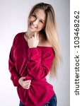 Smiling Girl In Red Pullover