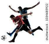 two soccer players men in... | Shutterstock . vector #1034685922