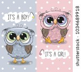 Stock vector baby shower greeting card with cute owls boy and girl 1034689918