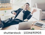 portrait of excited adorable...   Shutterstock . vector #1034690905