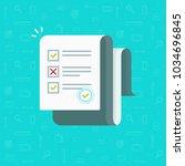 survey or exam form long paper... | Shutterstock . vector #1034696845