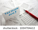 blank usa fiscal documents and... | Shutterstock . vector #1034704612