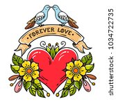 tattoo heart with roses  leaves ... | Shutterstock .eps vector #1034722735
