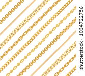 gold chain jewelry on white... | Shutterstock .eps vector #1034722756