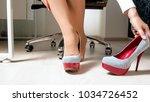 beautiful woman in pantyhose... | Shutterstock . vector #1034726452