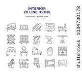 interior design line icons | Shutterstock .eps vector #1034730178