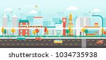 urban landscape with... | Shutterstock .eps vector #1034735938