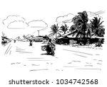 vector sketch of motorcyclist... | Shutterstock .eps vector #1034742568