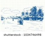 travel sketchbook  motorcyclist ... | Shutterstock .eps vector #1034746498